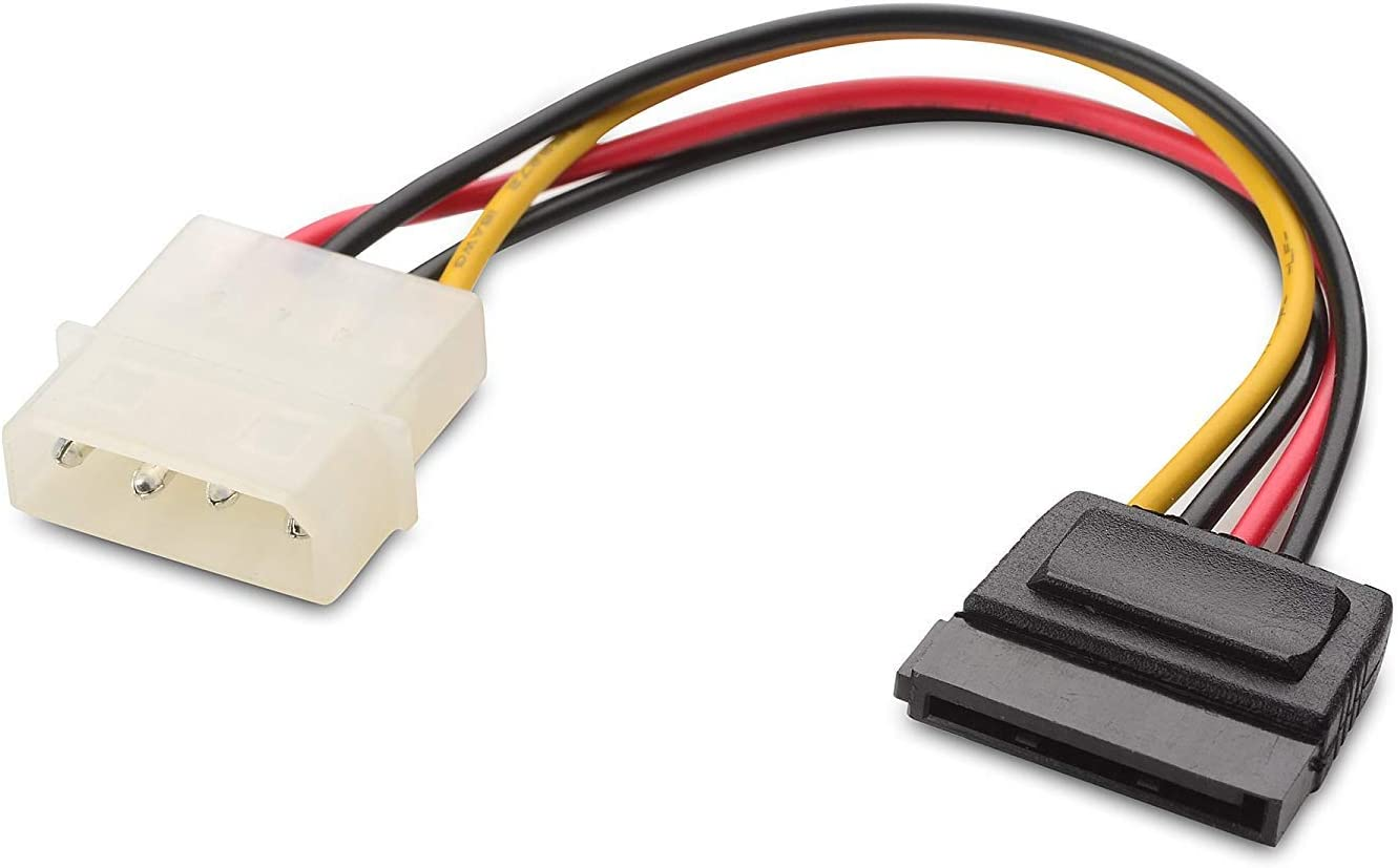 yellow  Molex to SATA Power Adaptor Cable 4 pin to 15 pin For HDD Hard Drive HI