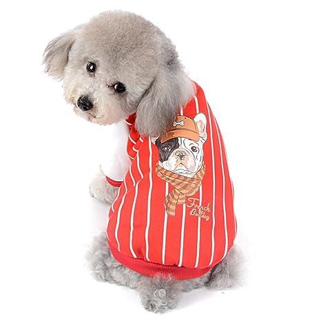 SELMAI Sudadera con Capucha para Perro, Diseño de Perro Bulldog Francés a Rayas, Estampado