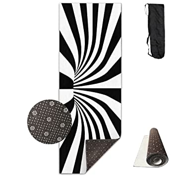 Unisex Fitness Yoga Mat Black White Spiral Unique Non-Slip Pattern Towels,Pilates Sports