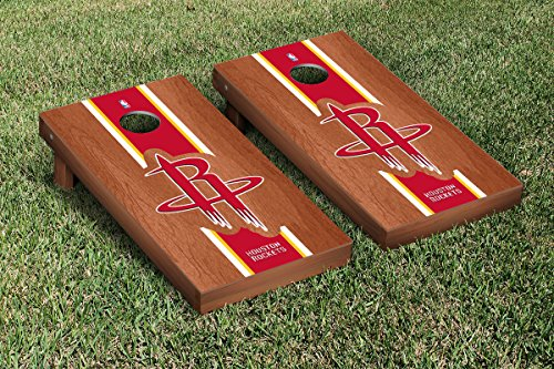Houston Rockets NBA Basketball Cornhole Game Set Rosewood Stained Stripe Version by Victory Tailgate