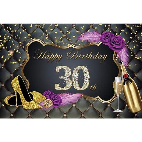 Cassisy 2,2x1,5m Vinilo Fondo de Fotografia Mujer 30th Tema del Feliz cumpleaños Cintas de Oro Tacones Altos Telón de Fondo Photo Booth Infantil Party ...