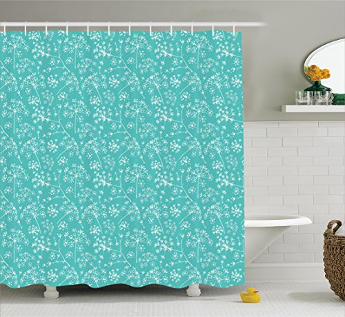 Ambesonne Turquoise Decor Collection, Delicate Umbrellas Parsley Dill Blossom Wildflower Summertime Plants Pattern, Polyester Fabric Bathroom Shower Curtain, 84 Inches Extra Long, Tiffany Blue White