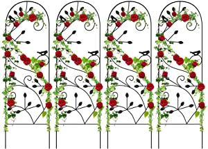 "4 Pack Garden Trellis for Climbing Plants 46"" x 15"" Rustproof Sturdy Black Iron Trellis for Potted Plants Support Metal Trellises for Climbing Roses Vines Vegetable Flower Ivy Grape Cucumber Clematis"