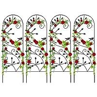 Amagabeli 4 Pack Garden Trellis for Climbing Plants 46″ x 15″ Rustproof Sturdy Black Iron Trellis Plants Support Metal Trellis for Climbing Rose Vine Vegetable Flower Ivy Grape Cucumber Clematis GT02