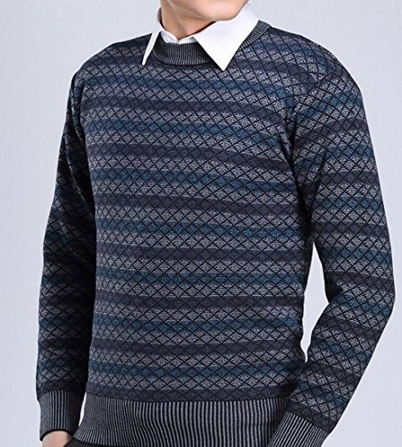 Top Sweater Long Men's Crewneck Sleeve amp;S amp;W M Striped Warm Blue g81Sxqw