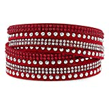 Silver & Post Red Genuine Leather Wrap Bracelet with Crystals from Swarovski, Gift Box Included