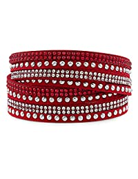 Silver & Post Red Genuine Leather Wrap Bracelet Crystals from Swarovski, Gift Box Included