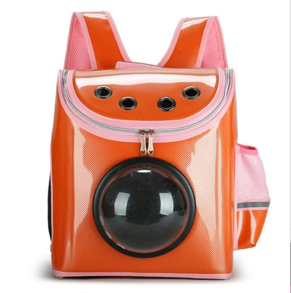 orange Pet Bag Chest Bag Outdoor Pet Space Bag Cat Dog Backpack Space Transparent Cover Cat Out Carrying Backpack 31 x 19 x 37CM ZXMSZ (color   orange)