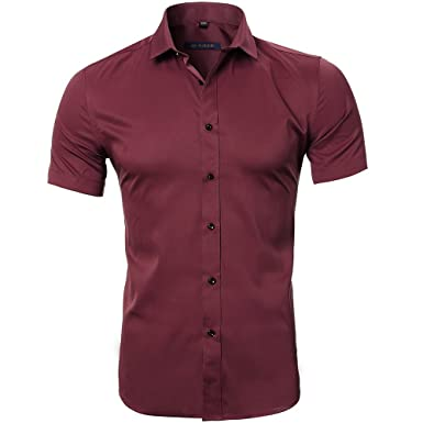 7a1b3ad831c207 Harrms Mens No Iron Slim Fit Dress Shirts Bamboo Fiber Short Sleeves  Elastic Button Down Dress Shirts