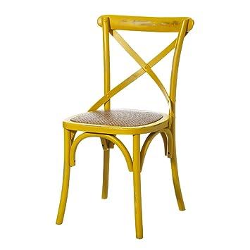 Silla de Madera Amarilla de Comedor Vintage para salón Iris ...