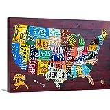 David Bowman Premium Thick-Wrap Canvas Wall Art Print entitled License Plate Map USA Large