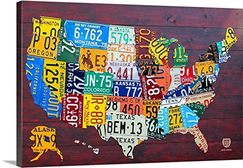 David Bowman Premium Thick-Wrap Canvas Wall Art Print entitled License Plate Map USA Large - Map Plate License