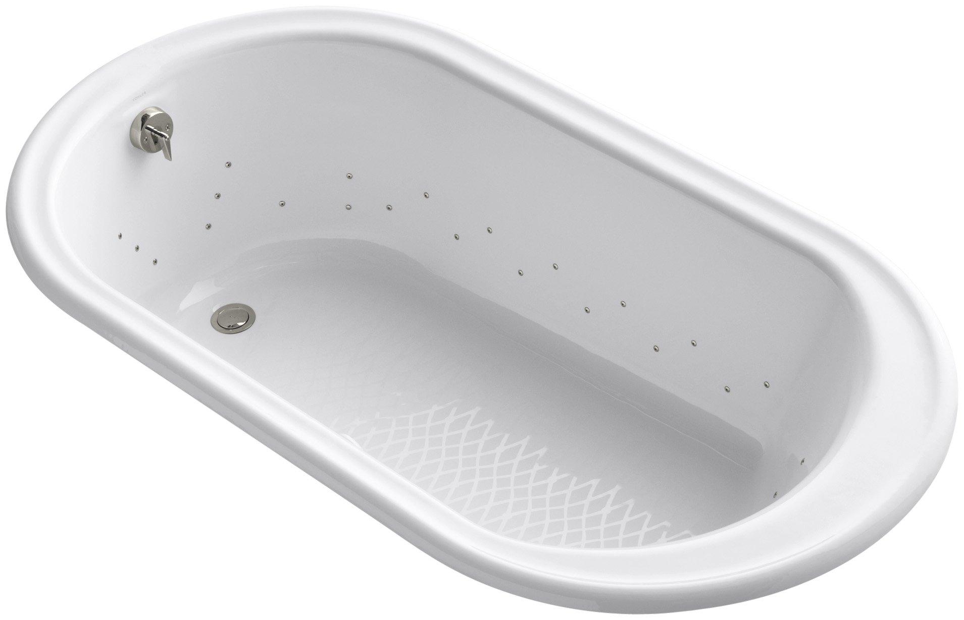 Kohler K-712-GSN-0 Iron Works Bubblemassage 5.5Ft Bath with Vibrant Polished Nickel Jet Color, White