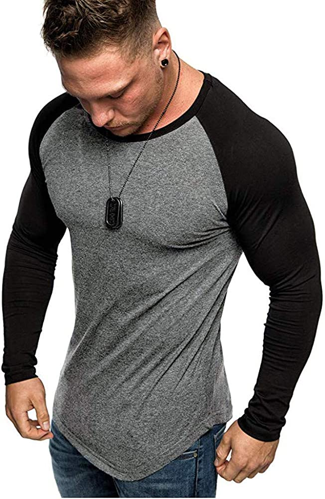 Yolmook Camisa Beisbol Hombre Camisetas Manga Larga Bloque De Colortop con Cuello Redondo (XXX-Large, Gris Oscuro): Amazon.es: Ropa y accesorios