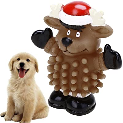Gowind7 Dog Chew Toy Christmas Reindeer Shape Funny Pets Toy Dog Puppy Squeaky Chew Toy