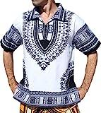 RaanPahMuang Thin Bold Batik Printed African Dashiki Casual European Collar Shirt, Medium, White Black