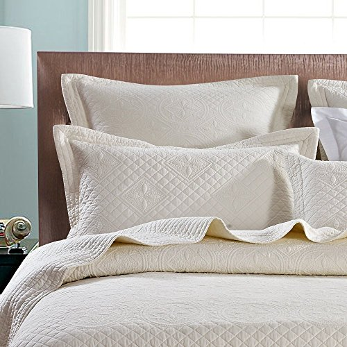 Calla Angel Saint Ivory Luxury Pure Cotton Quilted Pillow Sham, King Pillow, 20x36, Ivory