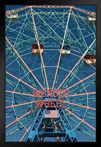 Wonder Wheel Ferris Wheel Coney Island Brooklyn Photo Art Print Framed Poster 14x20 inch (Wonder Wheel Coney Island)