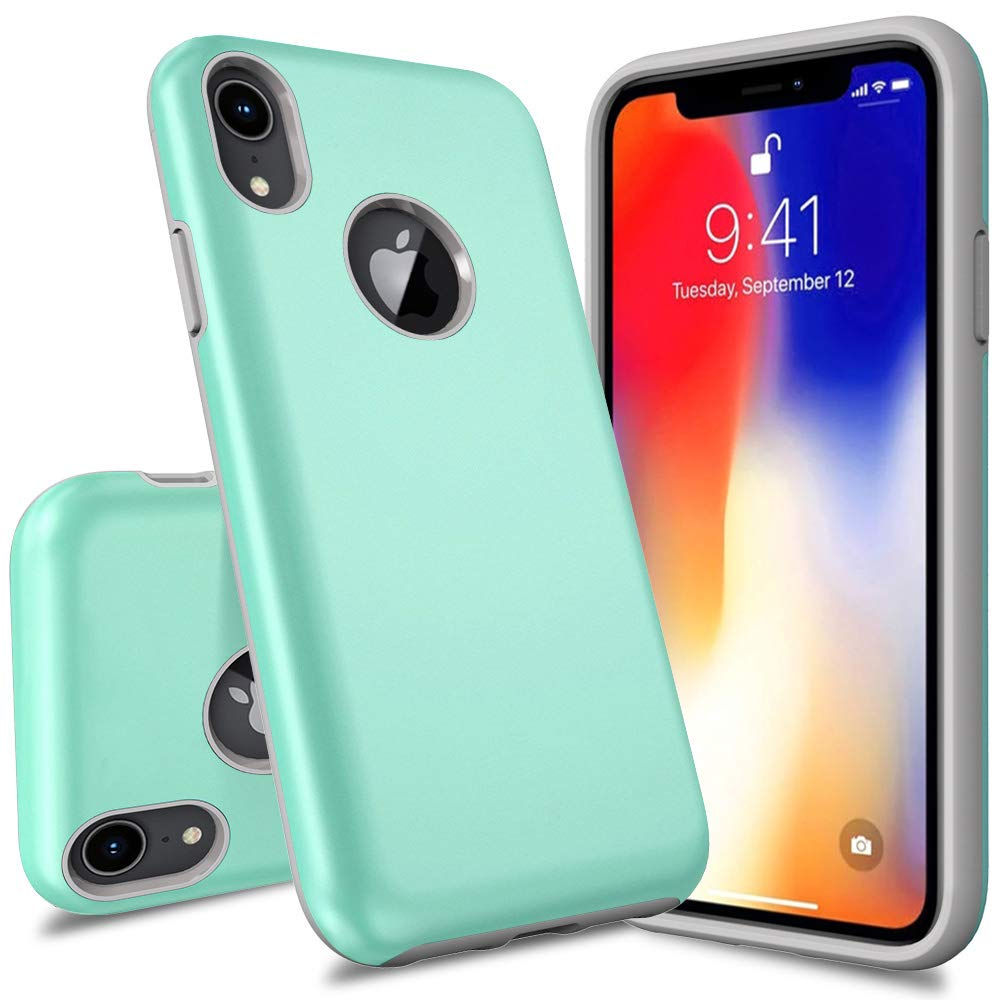 iPhone 2018 Case, 6.1 Inch, Androgate [Pearl Series] Hybrid Matte Protective Back Cover Bumper Case for Apple iPhone 2018 6.1'', Mint