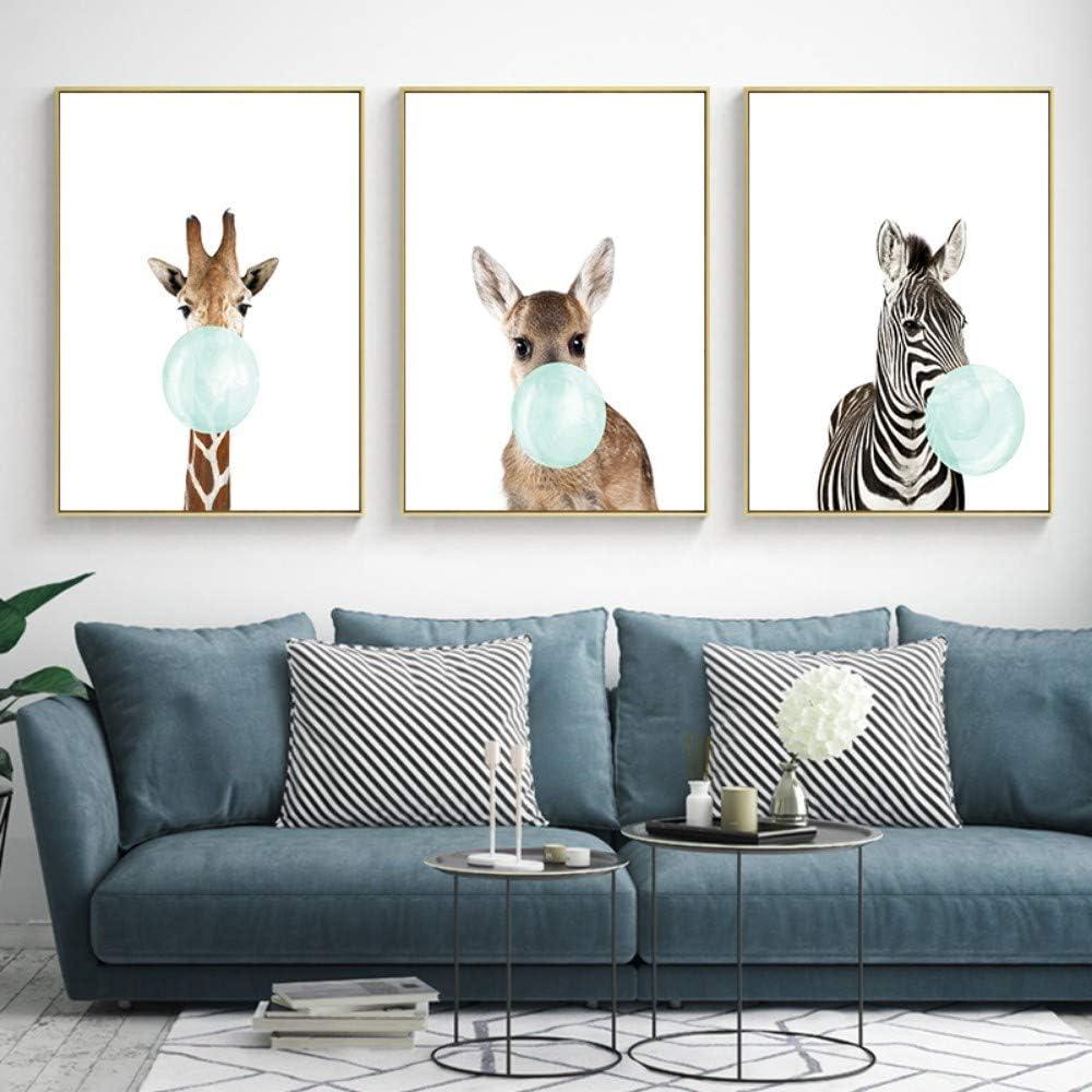 ZSHSCL Impresión En Lienzo Pintura 3 Piezas Lindo Azul Bubble Gum Animal Cebra Jirafa Koala Canguro Arte De La Lona Pintura Abstracta Impresión del Cartel Imagen De La Pared Decoración del Hogar, 20