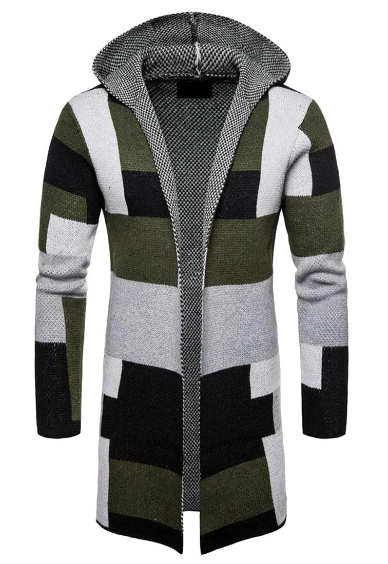 Domple Men Long Sleeve Color Block Knit Slim Open Front Long Cardigan Sweaters Green M