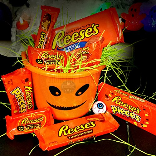Reeses Halloween Trick Or Treat Fun Bucket Pieces, Butter Cup , Pumpkin By Moreton Gifts -