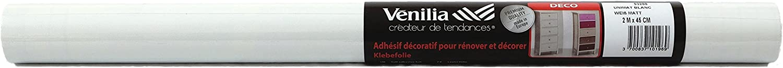 St/ärke: 0,16mm weiss 45cm x 2m Klebefolie Uni Matt Wei/ß Dekofolie M/öbelfolie Tapeten selbstklebende Folie ohne Phthalate Venilia 53288 160/µm PVC