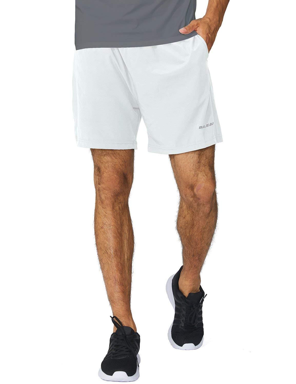 Baleaf Men's Woven 5 Inches Running Workout Shorts Zipper Pocket White Size XXL by Baleaf