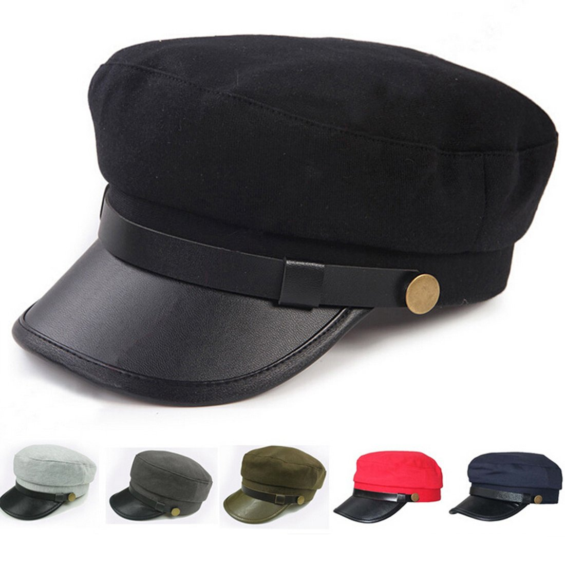 723ceaf5d8e6df Lerben Mens Women Fashion Vintage Army Cadet Military Navy Sailor Cap Flat  Top Hats Brim Visor Hat Cap Black: Amazon.co.uk: Clothing