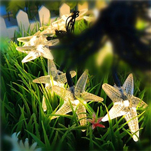 TechCode Outdoor Solar LED Light, Starfish Shape Cute Solar String Lights Outdoor LED Fairy Lighting Waterproof Lamp W/Solar Panel for Garden Backyard Party Christmas Holiday Decoration(Warm White) by TechCode
