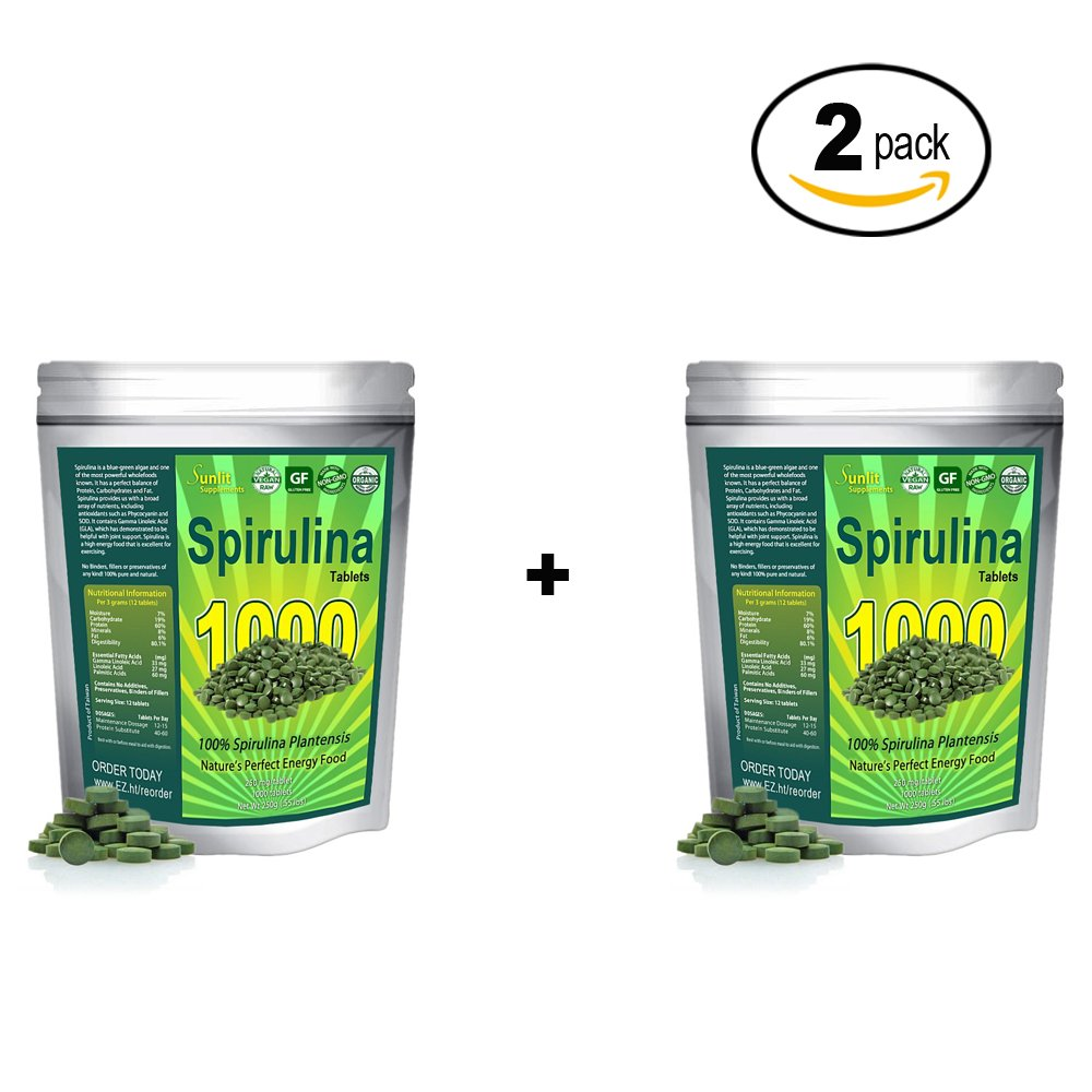 Spirulina Tablets (Mega-Pack 1000 Tablets). Organic, raw, Non-GMO. 100% Pure Green Superfood Spirulina Plantensis Supplement. Maximum Protein and Chlorophyll. No preservatives or fillers. (2Pack)