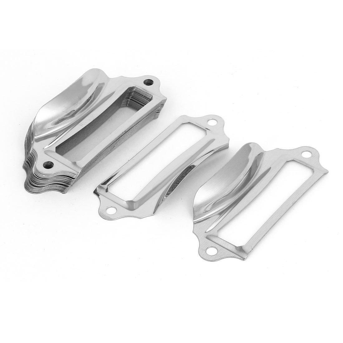 sourcingmap® Cabinet Drawer 69mm Long Metal Card Tag Frame Label Holder Pull Handles 25pcs a16121200ux1207