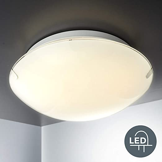Plafón de cristal I Lámpara de techo LED Ø30cm 11,5W I Pláfon de metal y cristal I Luz blanco cálido 3000K I IP20