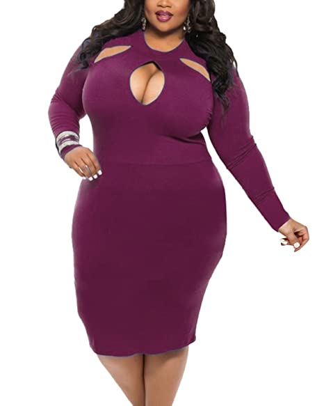 fbcaff53a97 BIUBIU Women s Plus Size Sexy Long Sleeve Club Bodycon Bandage Midi Dress  Purple L