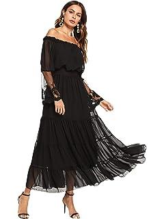 b8ef57f701c Milumia Women's Off Shoulder Lace Contrast Ruffle Mesh Sleeve Shirred High Waist  Maxi Dress