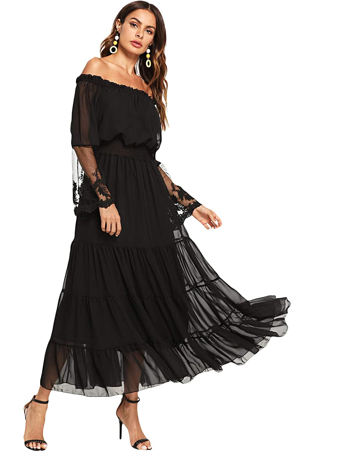 55cd13a2102d29 Milumia Women's Off Shoulder Lace Contrast Ruffle Mesh Sleeve Shirred High  Waist Maxi Dress at Amazon Women's Clothing store: