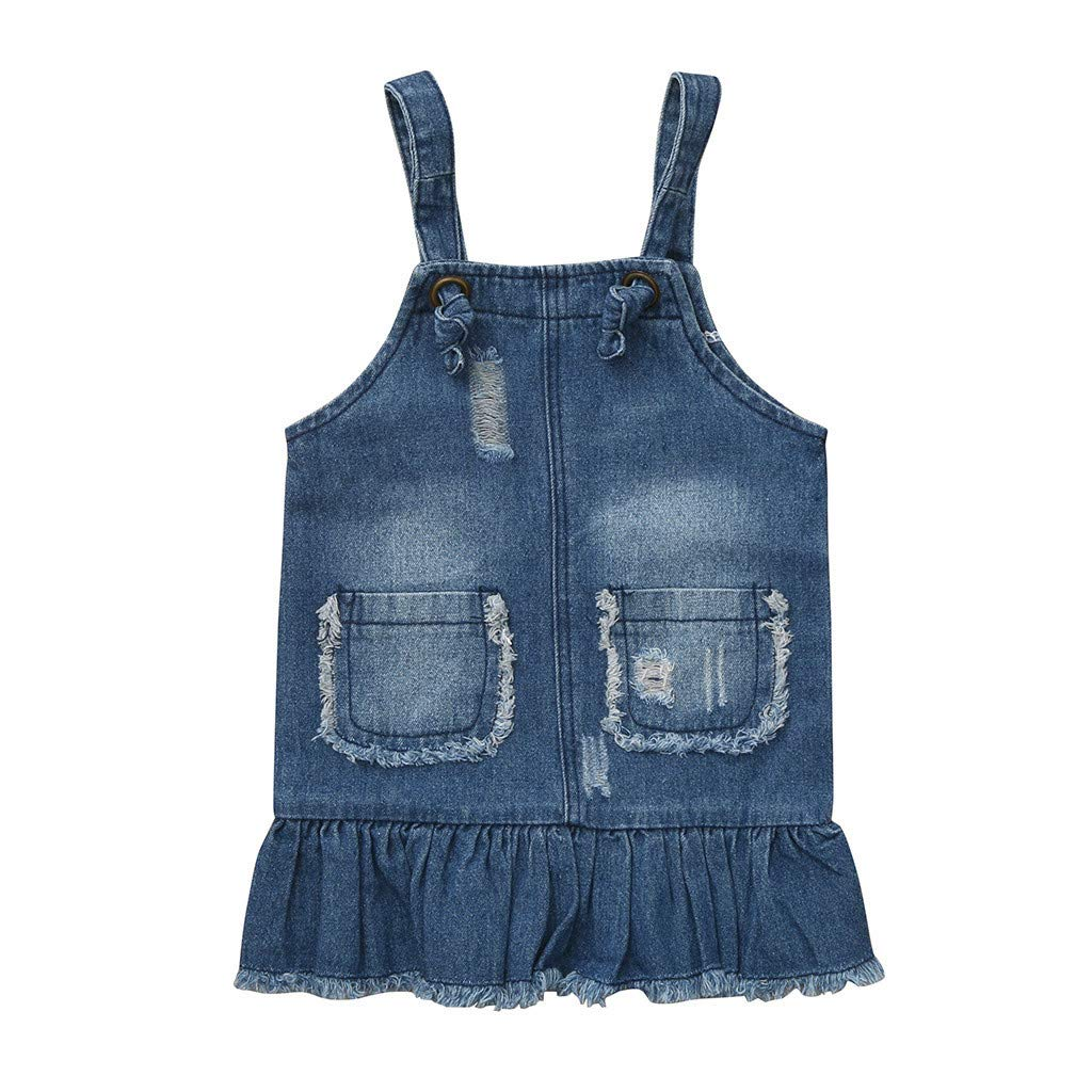 Xindeek Kids Baby Girls Sleeveless Pocket Hole Denim Jeans Casual Dress Clothes Sleeveless Denim and Chiffon Dress