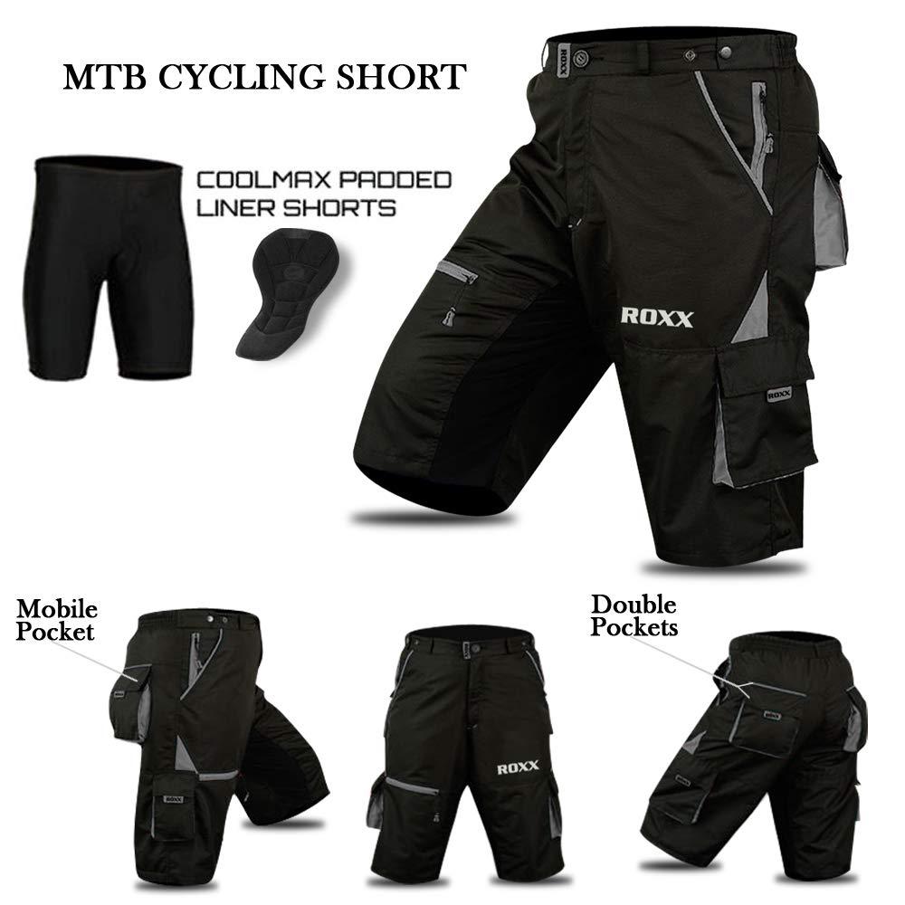 ROXX Cyclisme VTT Short Doublure int/érieure Amovible Free Style Taille Adulte/ Coolmax rembourr/é /Noir//Gris