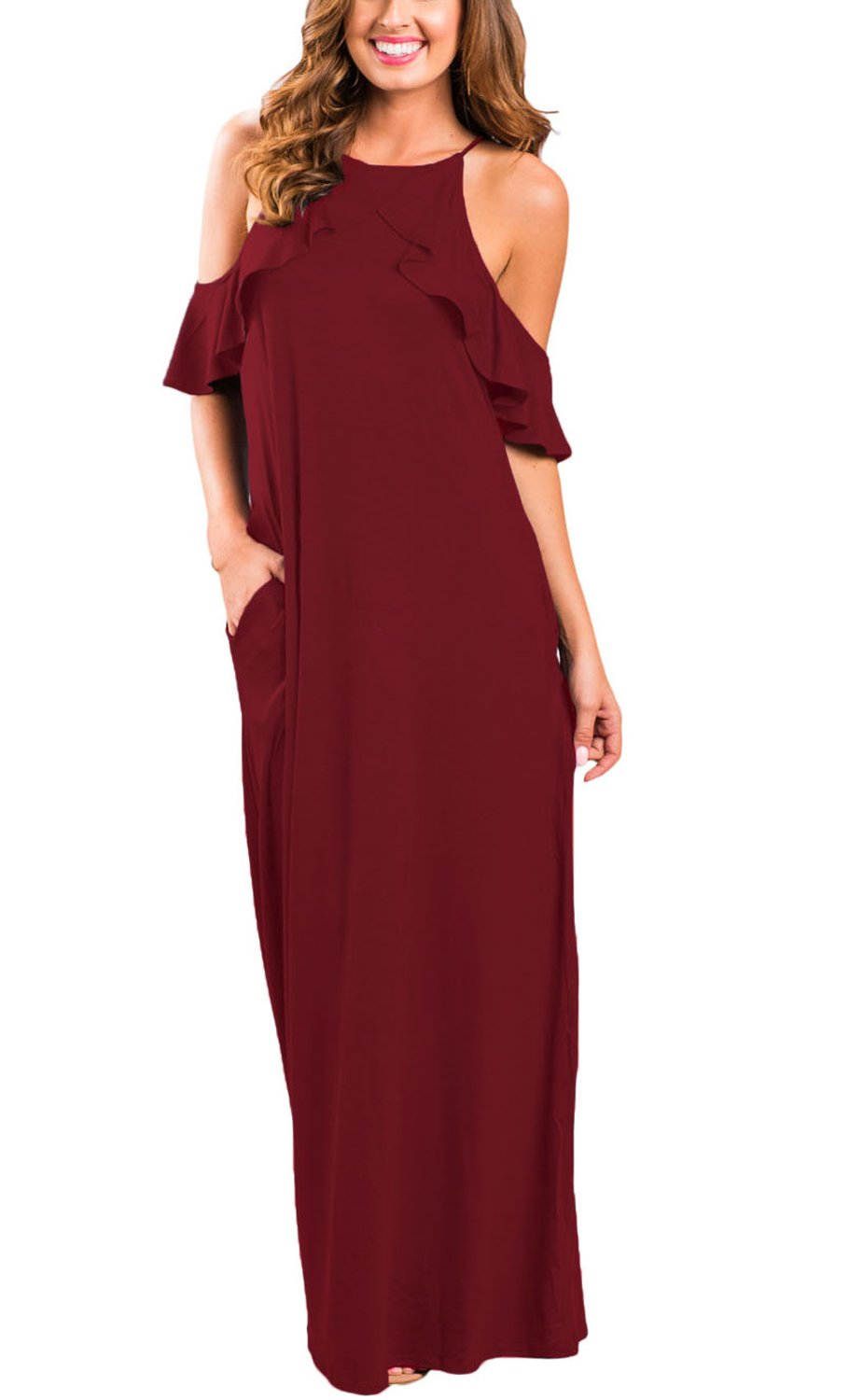 I2CRAZY Womens Summer Short Sleeve Crew Neck Pleated Loose Swing Casual Dress(Size-HXL,WineRed)