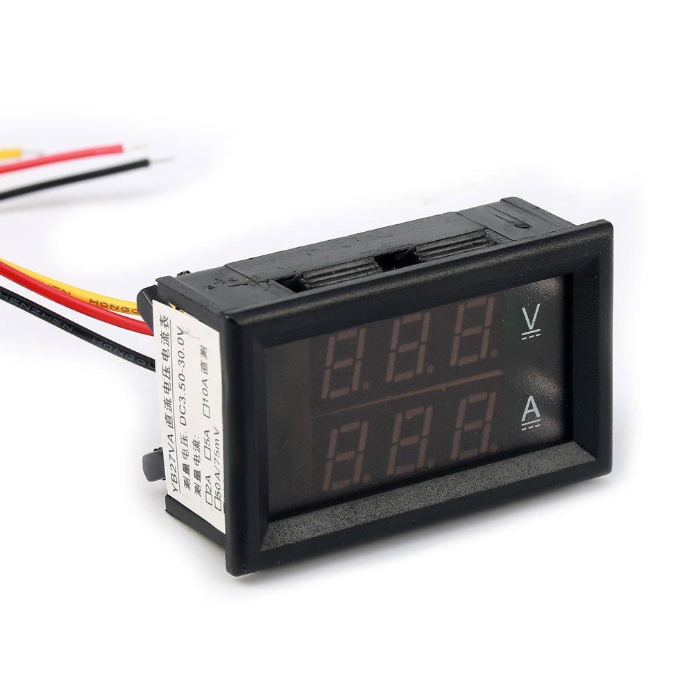 Geri Volt Amp Voltmeter Ammeter 2in1 Led Digital Voltage Panel Gauge Wiring Diagram Current Measurement Meter Dc 5v 12v 45 30v 100a With Shunt Red Blue Electronics