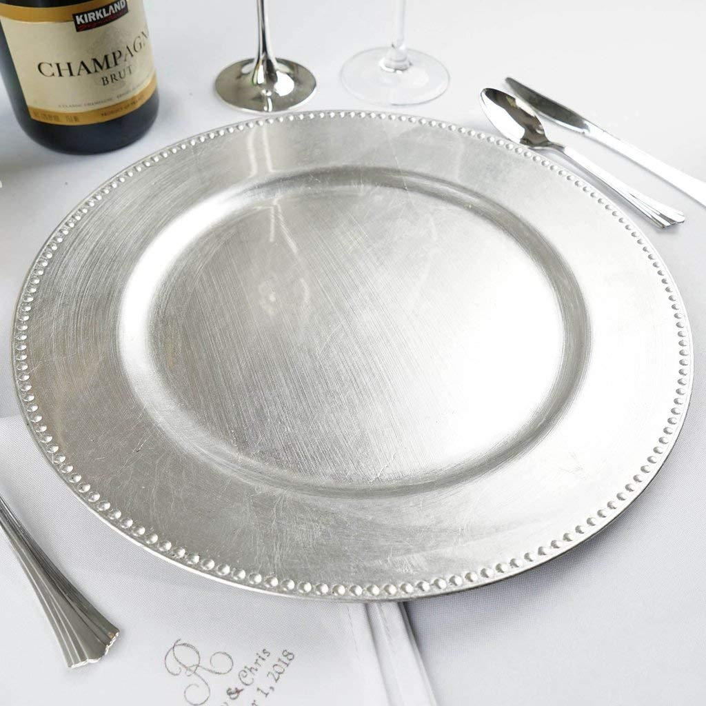 Efavormart 24 pcs 13'' Silver Beaded Round Charger Plates