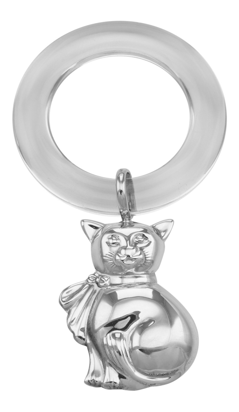 Sterling Silver Cat Rattle - Teething Ring for Baby