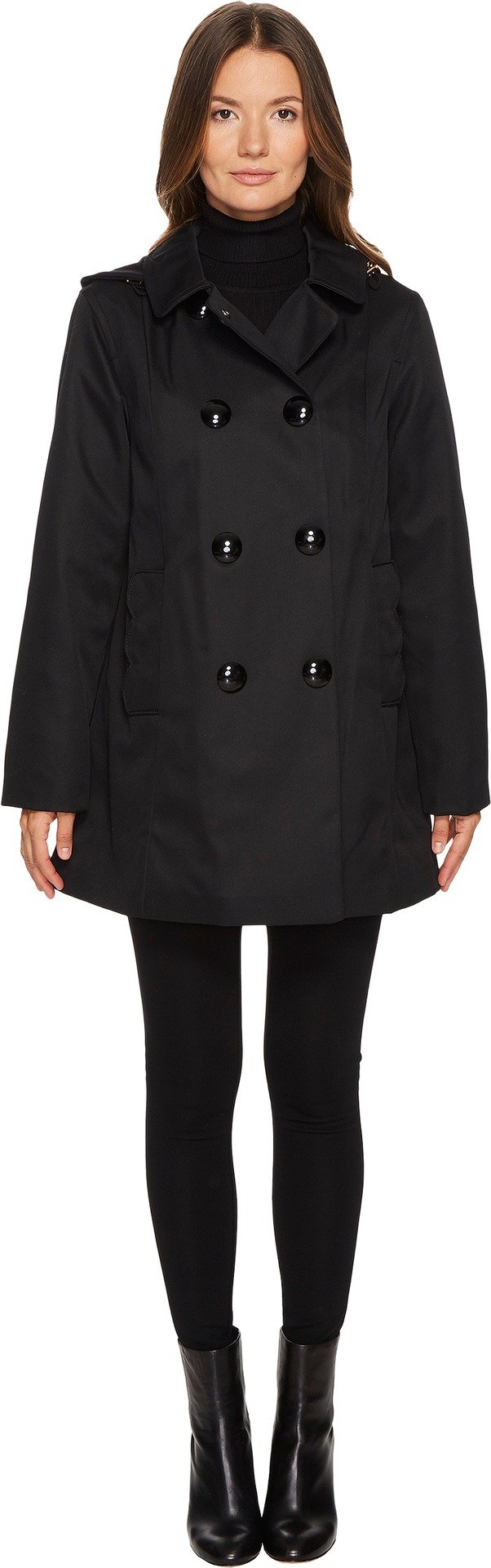 Kate Spade New York Womens Rain Double-Breasted Hooded Jacket Black MD One Size