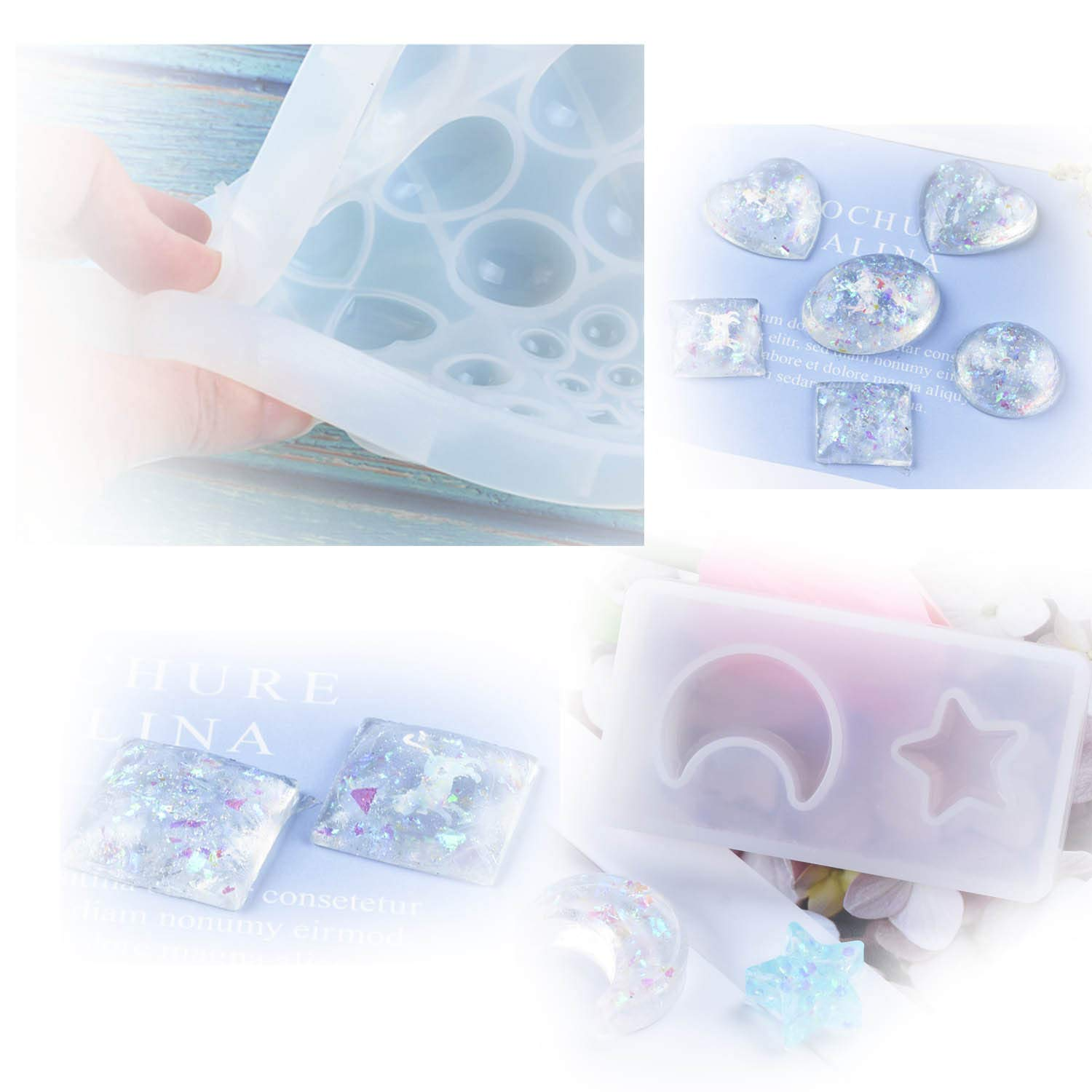 Earring Making Silicone Resin Jewelry Molds for Resin Epoxy Polymer Clay Kingrol 10 Pack Jewelry Casting Molds