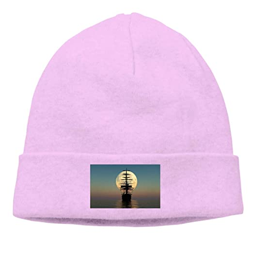 5a3f7d80 Amazon.com: Novelty for Unisex Hats & Caps Accessories Skull Cap Knitted Hat  Sunset Pirate Boat in The Sea Unisex Cuffed Plain Skull Knit Hat Cap Head  Cap: ...