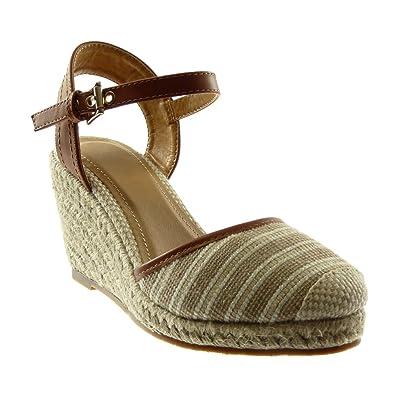 13abbd9678e825 Angkorly - Chaussure Mode Sandale Mule lanière Cheville bi-matière Plateforme  Femme Corde tréssé Bicolore