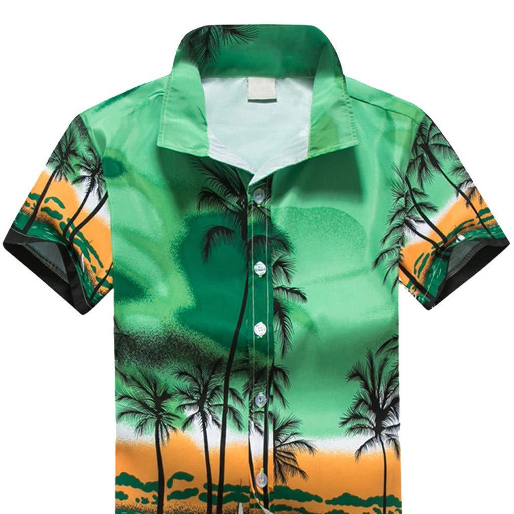Men Hawaiian Print Short T-Shirt Sports Beach Quick Dry Blouse Top Blouse Palarn Mens Fashion Sports Shirts