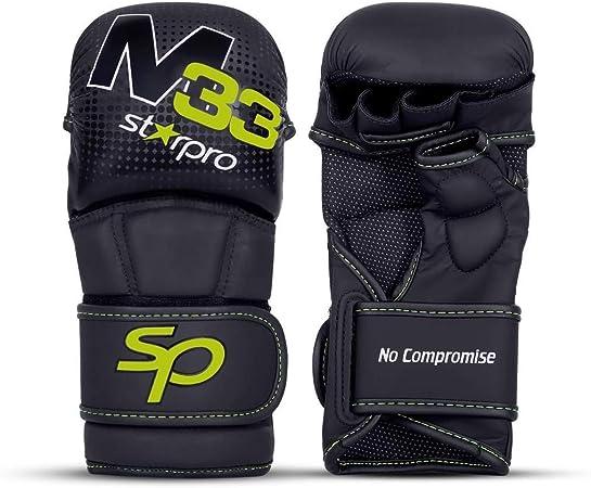 Artes Marciales Mitones Muay Thai Karate Kick Boxing Lucha Libre Sparring Gloves Cuero Sint/ético Blanco y Negro para Hombre y Mujer Starpro MMA Guantes Aferramiento Entrenamiento