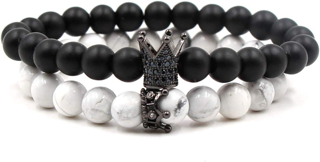 Hynsin Lion Men Bracelet Pave Cubic Zircon 8 mm Stone Beads Charm Bracelet for Men Women Jewelry Gift