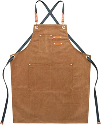 YUENA CARE Chef Apron Canvas Apron with 3 Pockets for Home Kitchen BBQ Restaurant Cafe